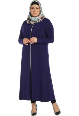 Modaverda Sandy Kumaş Fermuarlı Elbise Mor Renk