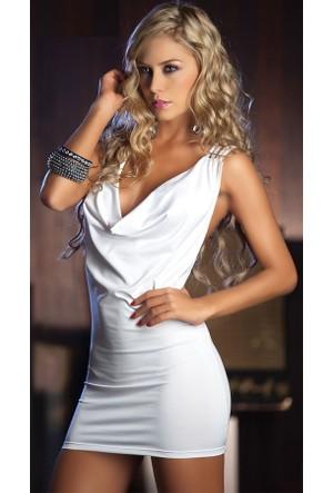 Merry See 2328 Beyaz Arkası Dekolteli Elbise