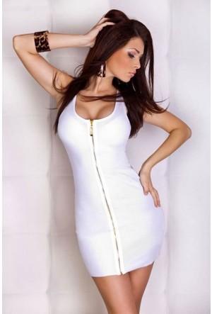 Merry See 2450 Beyaz Önü Fermuarlı Mini Elbise