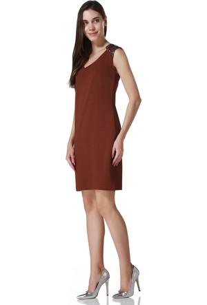 Sense 13095 Omuzlar Taşlı Kolsuz Pike Çelik Elbise
