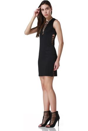 Sense 14028 V Yaka Yanları Biyeli Sırtı Gizli Fermuarlı Dalgıç Elbise