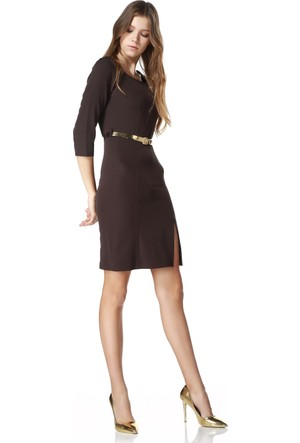Sense 14170 Kare Yaka Truvakar Kol Gizli Fermuarlı Krep Elbise