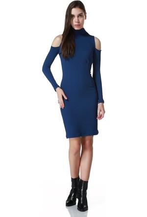 Sense 14244 Omuz Baslıkları Acık Uzun Kollu Balıkcı Yaka Elbise