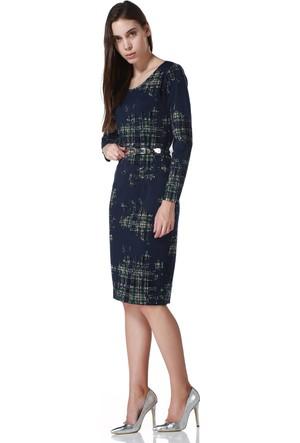 Sense 14250 Uzun Kollu Havuz Yaka Sırtı Fermuarlı Elbise