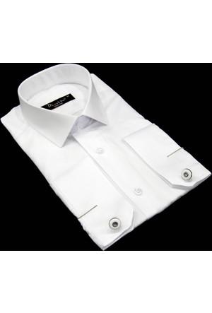 Dicotto Erkek Gömlek Beyaz, Koldüğmeli 30011