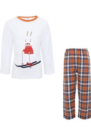 Soobe Tavşan Pijama Takımı Ekru Melanj 5 Yaş