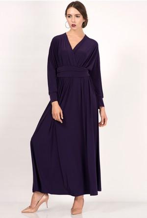 İroni Kruvaze Yaka Dökümlü Mor Uzun Elbise
