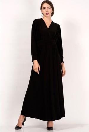İroni Kruvaze Yaka Dökümlü Siyah Uzun Elbise