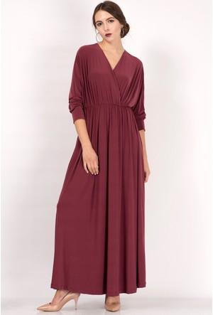 İroni Kruvaze Yaka Dökümlü Vişne Uzun Elbise