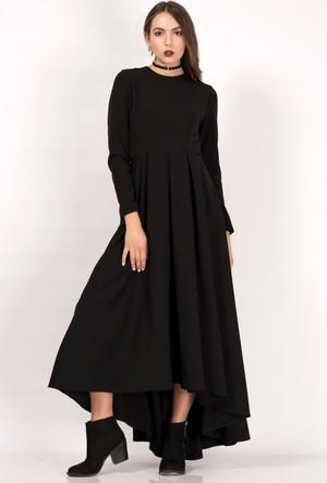İroni Uzun Kollu Pilili Siyah Uzun Elbise