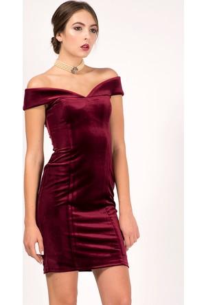 İroni Kadife Kayık Yaka Dar Bordo Mini Elbise