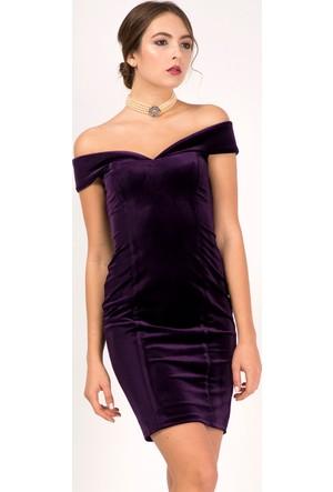 İroni Kadife Kayık Yaka Dar Mor Mini Elbise