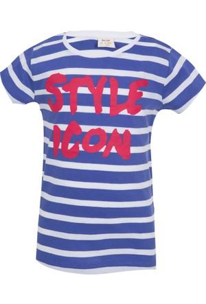 Soobe Pop Girls Stil İkonu Kısa Kol T-Shirt Pulm Blue 12 Yaş