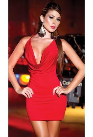 Merry See 2957 Kırmızı Sırtı Metal Aksesuarlı Beyaz Mini Elbise