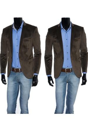 GiyimGiyim Koyu Kahve Dar Kesim Erkek Blazer Tek Ceket