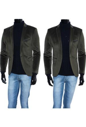 GiyimGiyim Kadife Yeşil - Haki Dar Kesim Erkek Blazer Tek Ceket