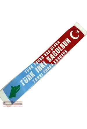 Kayıkcı Türk Irkı Sağolsun Atkısı - Mavi Kırmızı Renk