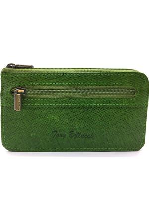 Tony Bellucci M10-923 Yeşil Gerçek Deri Anahtarlıklı Mini Cüzdan