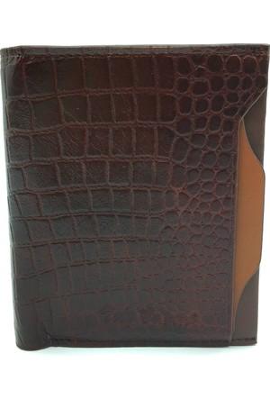 Tony Bellucci M15-960 Kroko Kahverengi Gerçek Deri Kartlıklı Erkek Cüzdan