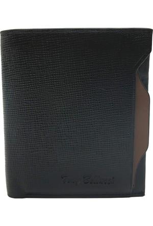 Tony Bellucci M15-985 Desen Siyah Gerçek Deri Kartlıklı Erkek Cüzdan