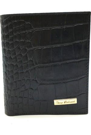Tony Bellucci T135-942 Kroko Siyah Gerçek Deri Dik Erkek Cüzdan