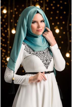 Muslima Wear Şifon Şal Antik Mavi