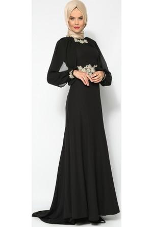 Güpür Süslemeli Abiye Elbise - Siyah - Mileny