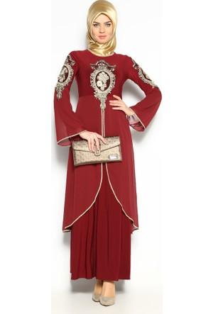 Güpürlü Abiye Elbise - Bordo - Bürün