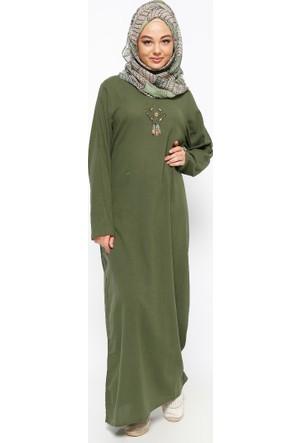 Şile Bezi Baskılı Elbise - Haki - Çıkrıkçı