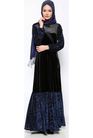 Drop Baskılı Kadife Abiye Elbise - Lacivert - Ginezza