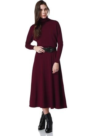 Bonalodi Yün Triko Bordo Boğazlı Maxi Uzun Bayan Elbise