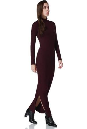 Bonalodi Balık Sırtı Kumaş Yırtmaçlı Bordo Midi Bayan Elbise