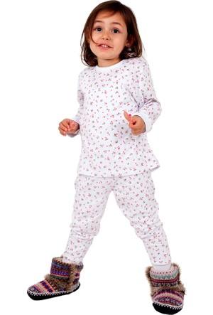 Kız Çocuk Pamuklu Pijama Takımı Çiçekli Kız
