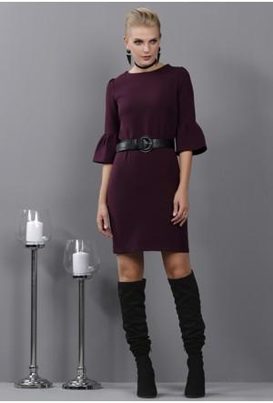 İroni İspanyol Kollu Mürdüm Mini Elbise