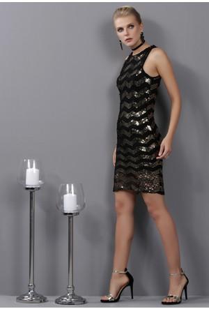 İroni File Detaylı Siyah Altın Payetli Elbise