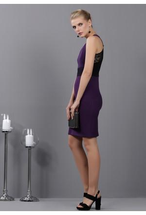 İroni Sırtı Dantel Detaylı Elbise