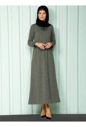 Beli Lastikli Elbise - Haki - Luvice