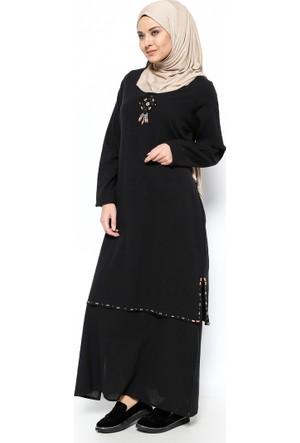 Şile Bezi Boncuk İşlemeli Elbise - Siyah - Çkr