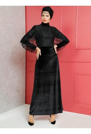 Dantel Detaylı Kadife Abiye Elbise - Siyah - Dersaadet