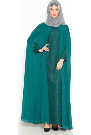 Pelerinli Abiye Elbise - Yeşil - Sevdem Abiye