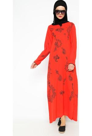 Şile Bezi Baskılı Elbise - Kırmızı - Çkr