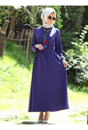 Kolu Büzgülü Elbise - İndigo - Melek Aydın