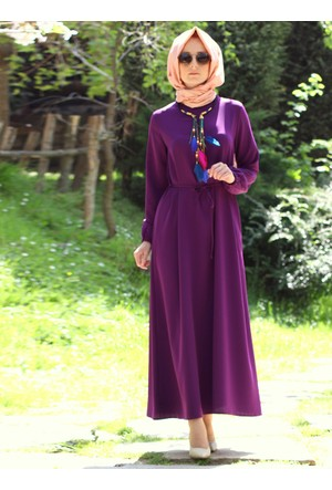 Kolu Büzgülü Elbise - Mürdüm - Melek Aydın