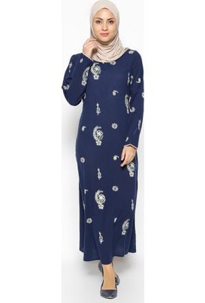 Şile Bezi Baskılı Elbise - Lacivert - Çıkrıkçı