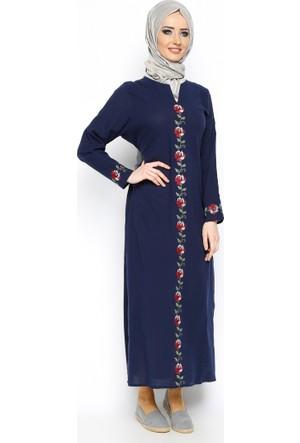 Şile Bezi Elbise - Lacivert - Çıkrıkçı