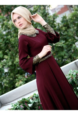 Pul Detaylı Abiye Elbise - Bordo - İz Otantik