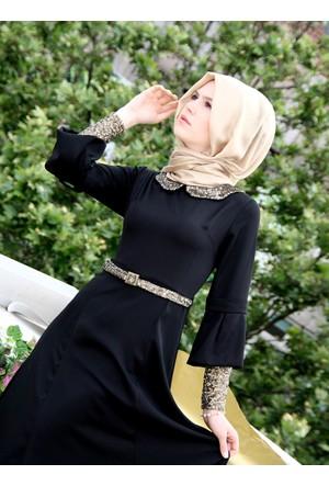 Kolları Ve Yakası Pullu Elbise - Siyah - İzotantik