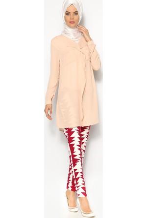 Zigzag Desen Pantolon - Fuşya - Appleline