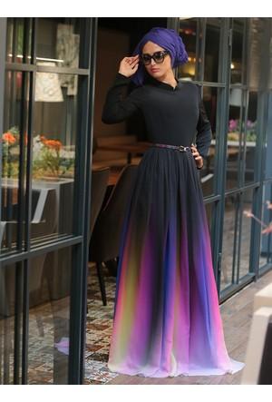 Gökkuşağı Elbise - Siyah - Selma Sarı Design