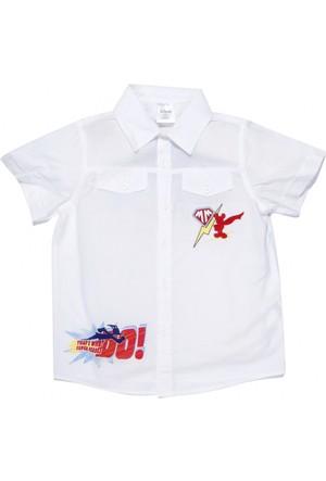 Disney Mickey Super Adventure Kısa Kol Erkek Çocuk Gömlek Beyaz (2-7 Yaş)
